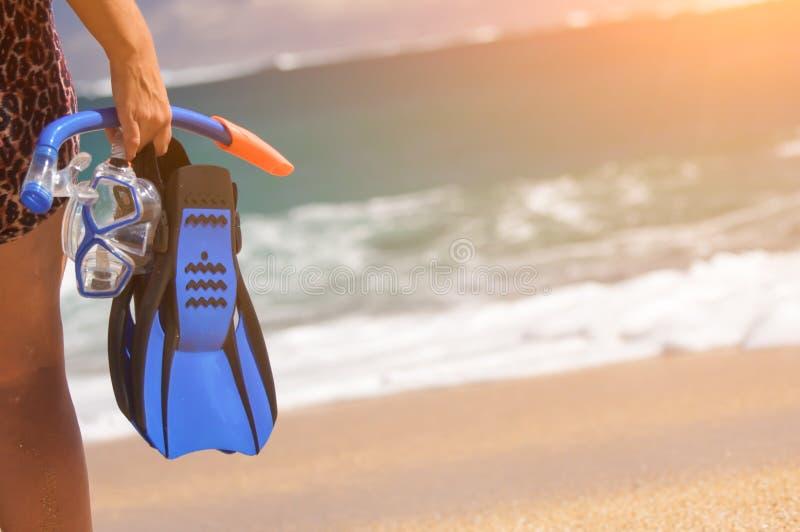Femme tenant la vitesse naviguante au schnorchel à la plage image libre de droits