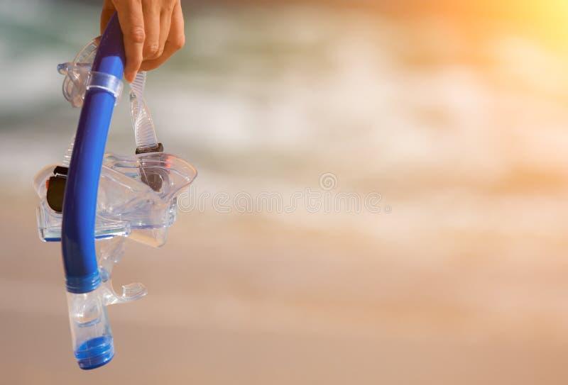 Femme tenant la vitesse naviguante au schnorchel sur la plage au coucher du soleil photographie stock libre de droits