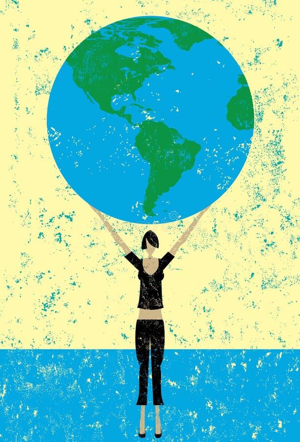 Femme tenant le monde illustration de vecteur