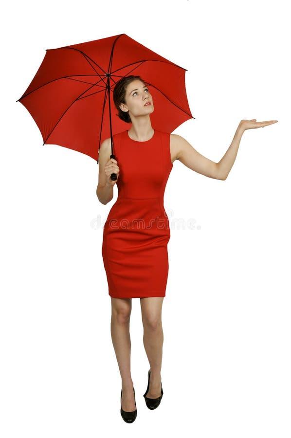 Femme tenant le parapluie photo libre de droits