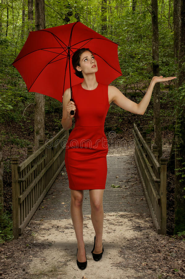 Femme tenant le parapluie photos libres de droits