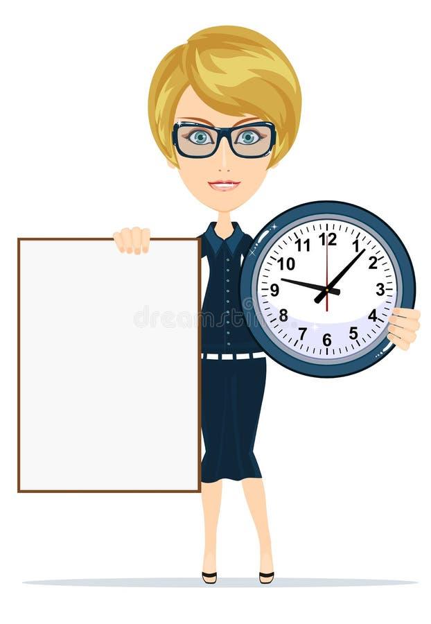Femme tenant une affiche et une horloge vides illustration stock