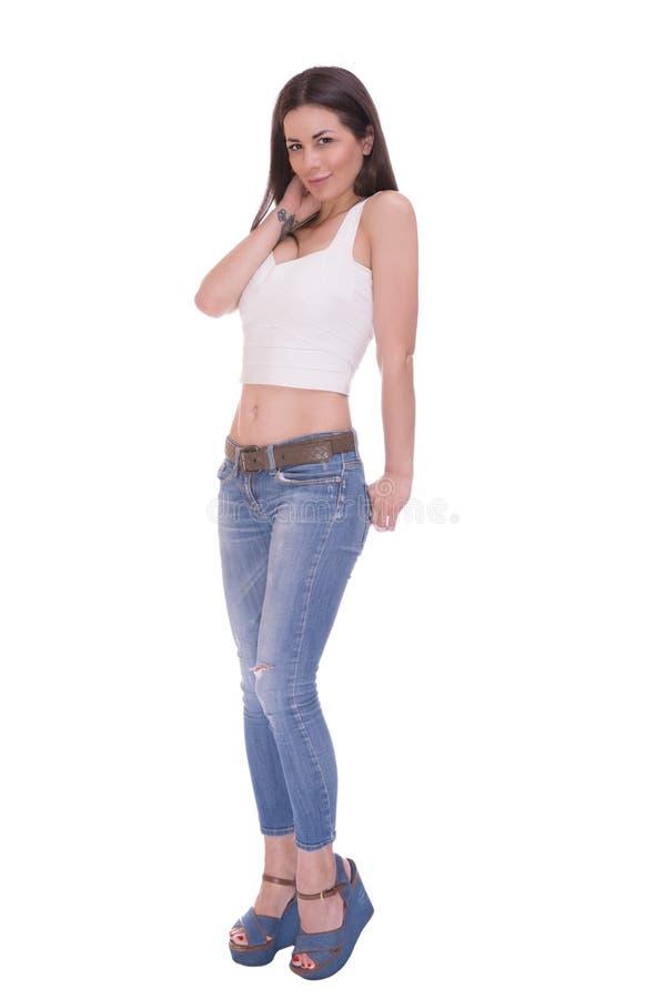 Femme timide au-dessus du fond blanc images stock