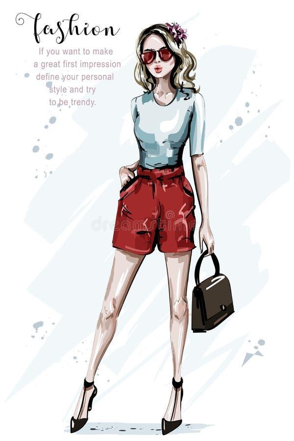 Femme tirée par la main de mode avec le sac Regard élégant Beau jeune femme dans des lunettes de soleil illustration de vecteur