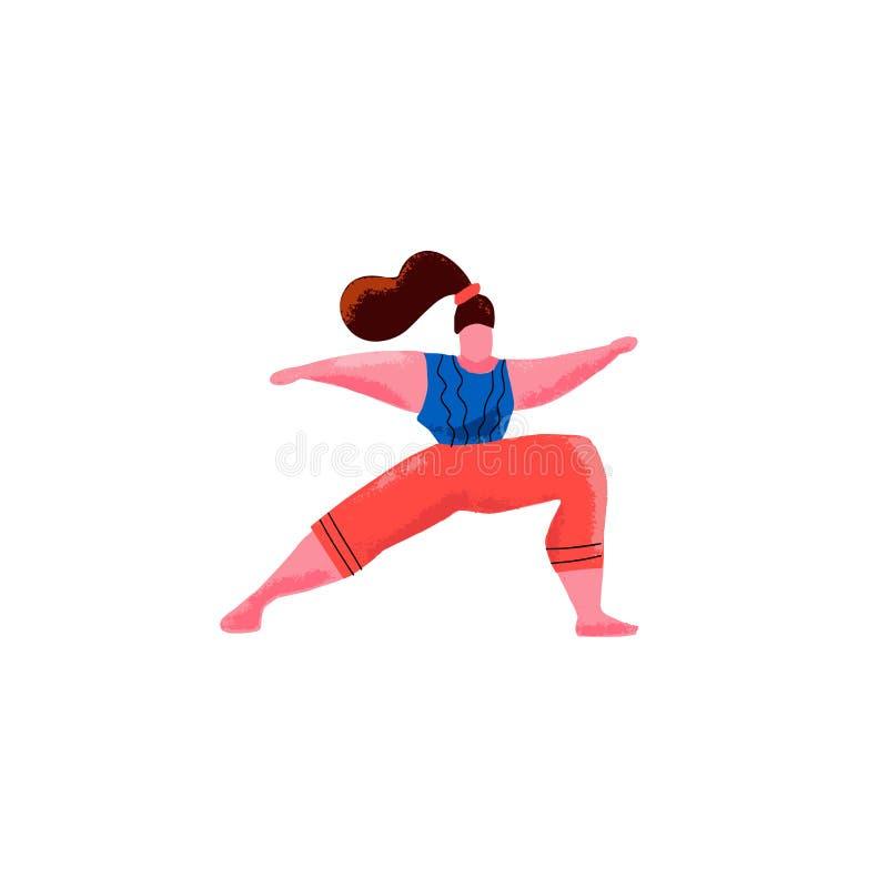Femme tir?e par la main de bande dessin?e en position de yoga dans la pose de guerrier Sc?ne de sport de forme physique d'exercic illustration stock