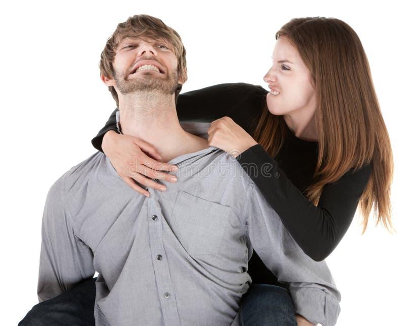 Femme tirant sur une oreille photographie stock libre de droits