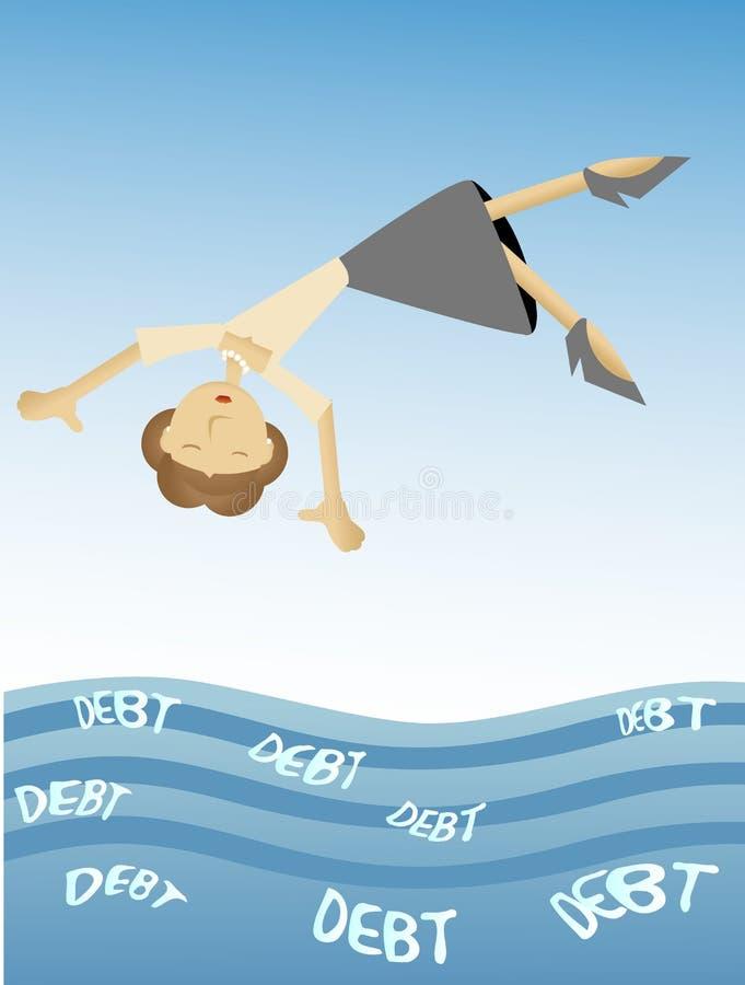 Femme tombant dans la mer de la dette illustration stock