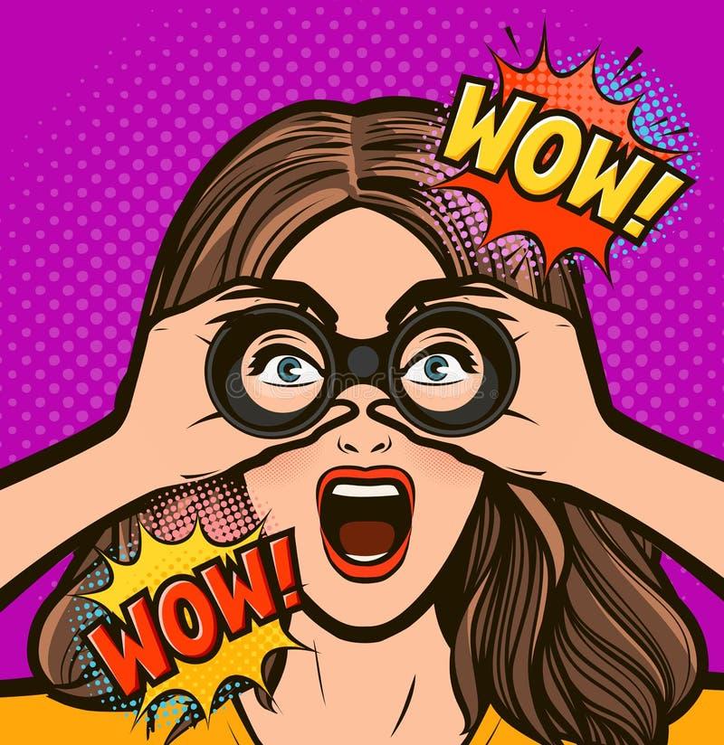 Femme ?tonn?e regardant par des jumelles Dirigez l'illustration dans style comique d'art de bruit le r?tro illustration stock