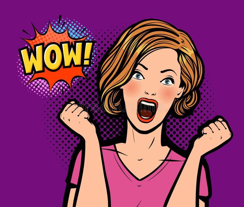 Femme ?tonn?e sexy Wow, illustration dans style comique d'art de bruit le rétro illustration de vecteur