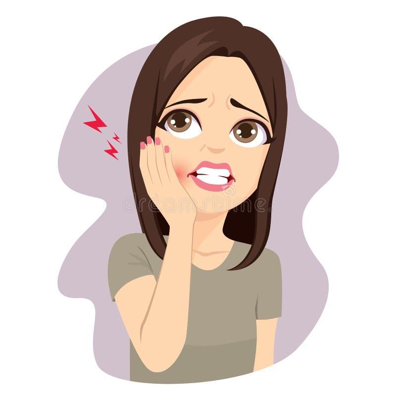 Femme touchant la douleur de mal de dents de joue illustration de vecteur