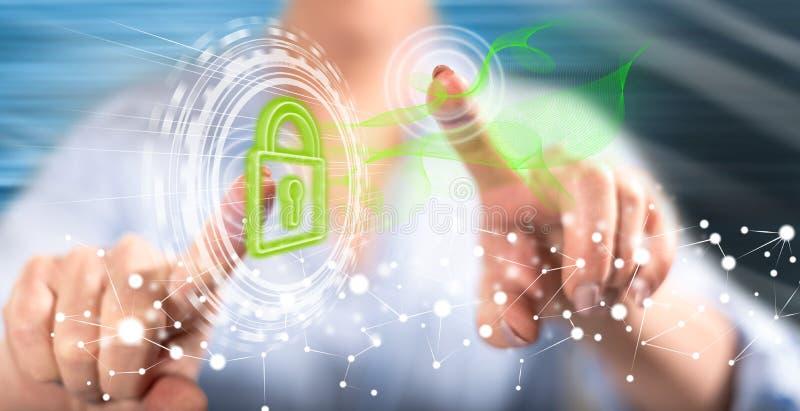 Femme touchant un concept numérique de sécurité illustration de vecteur