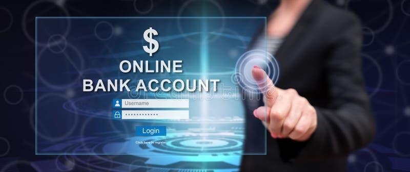 Femme touchant un site Web en ligne de compte bancaire photographie stock