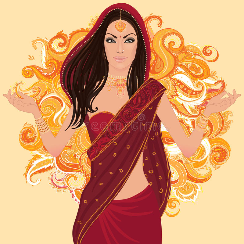 Femme traditionnel indien dans le sari illustration stock