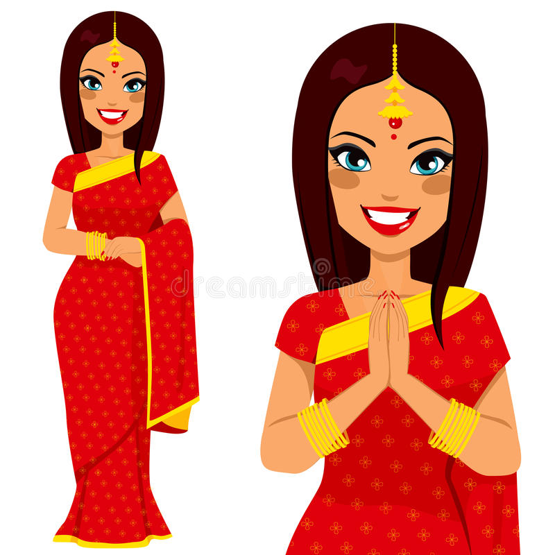 Femme traditionnelle indienne illustration libre de droits