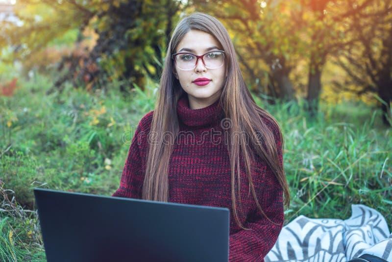 Femme travaillant ou étudiant sur le texte sans fil d'impression d'ordinateur portable Parc d'automne Concept d'éducation et du t image stock
