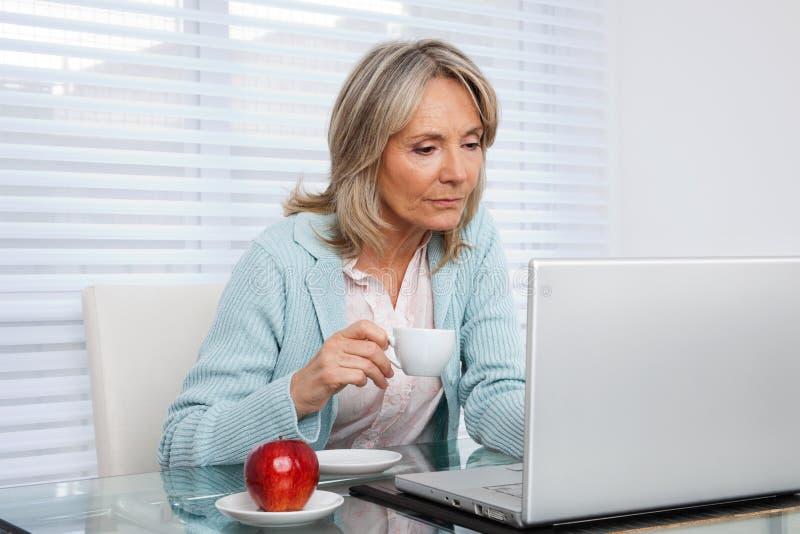Femme travaillant sur l'ordinateur portable photo libre de droits