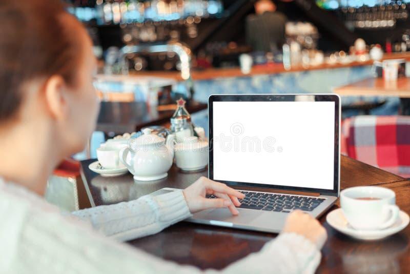 Femme travaillant sur l'ordinateur portatif photo stock