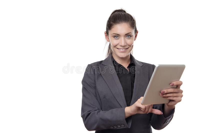 Femme travaillante heureuse d'affaires image libre de droits