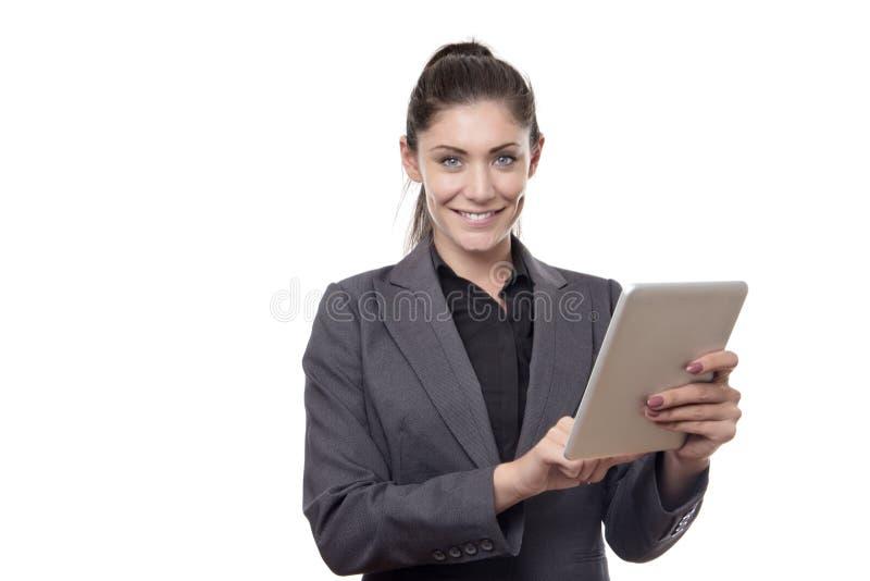 Femme travaillante heureuse d'affaires photos stock