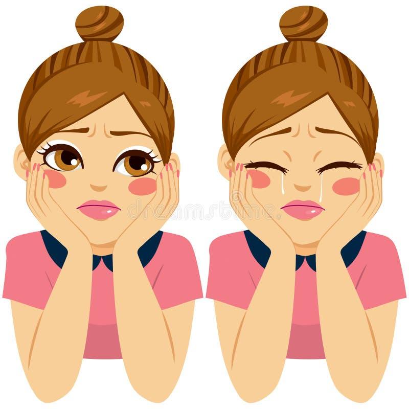 Femme triste pleurante illustration stock