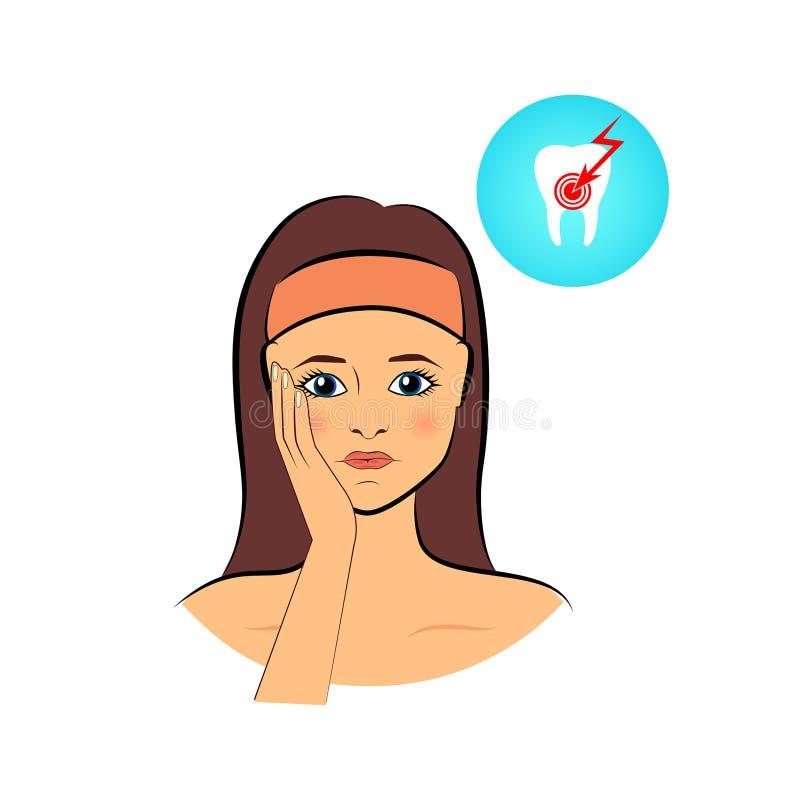 Femme triste souffrant d'un mal de dents fort illustration de vecteur