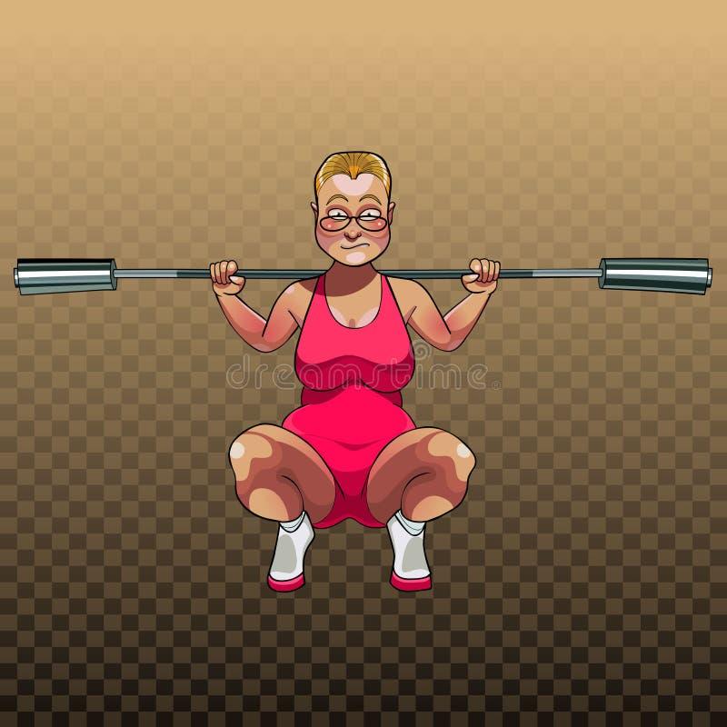 Femme unsportsmanlike de bande dessinée s'accroupissant avec le cou pour la tige illustration libre de droits