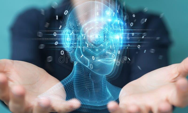 Femme utilisant l'intelligence artificielle numérique interface de tête rendu 3D image stock