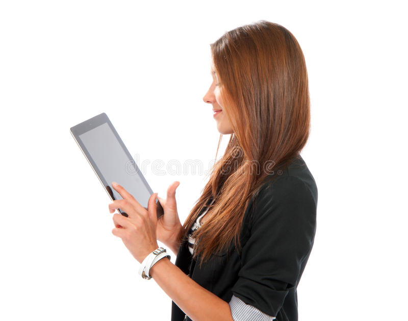 Femme utilisant la banque itinérante avec le tou électronique de tablette photos libres de droits