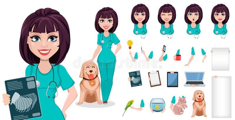 Femme vétérinaire, paquet de parties du corps, émotions et choses illustration stock