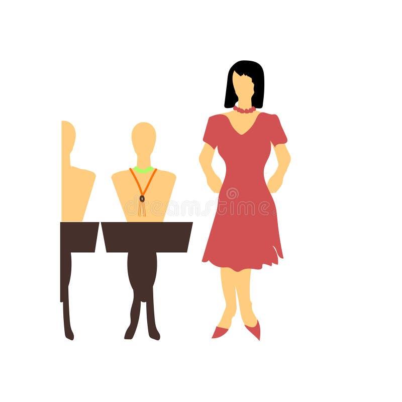 femme vendant le signe et le symbole de vecteur de vecteur de bijoux d'isolement sur le fond blanc, femme vendant le concept de l illustration libre de droits