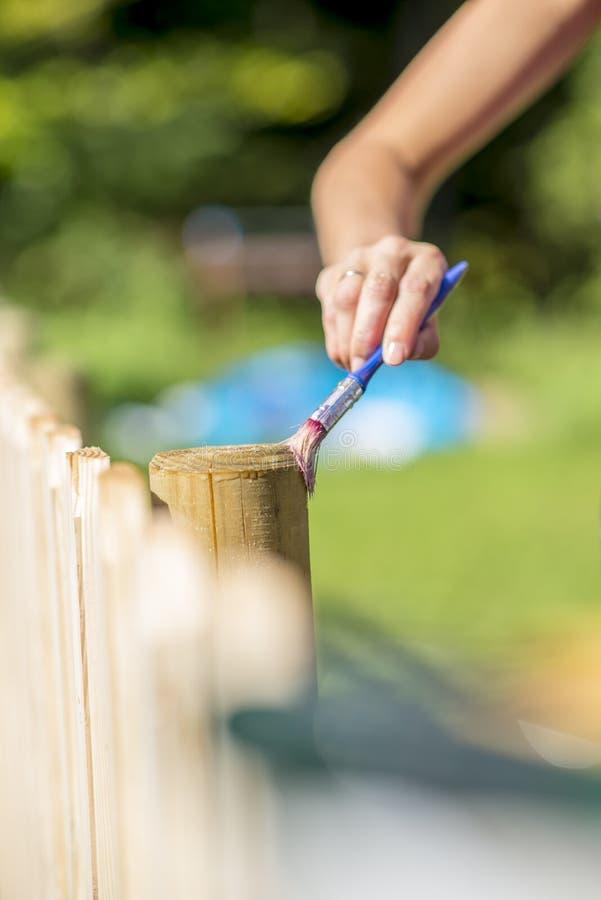 Femme vernissant une barrière en bois dehors dans un patio à la maison images libres de droits