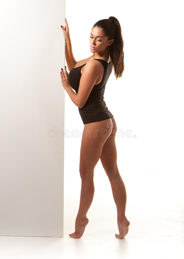 Femme voluptueux sexy dans le collant de danseur photo stock
