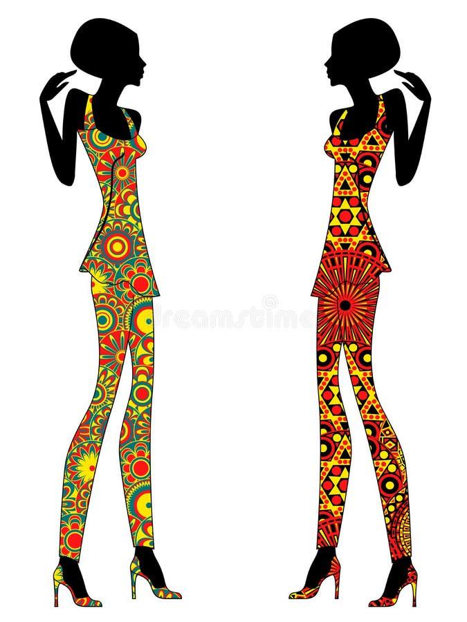 Femmes élégantes minces dans des robes fleuries courtes illustration libre de droits
