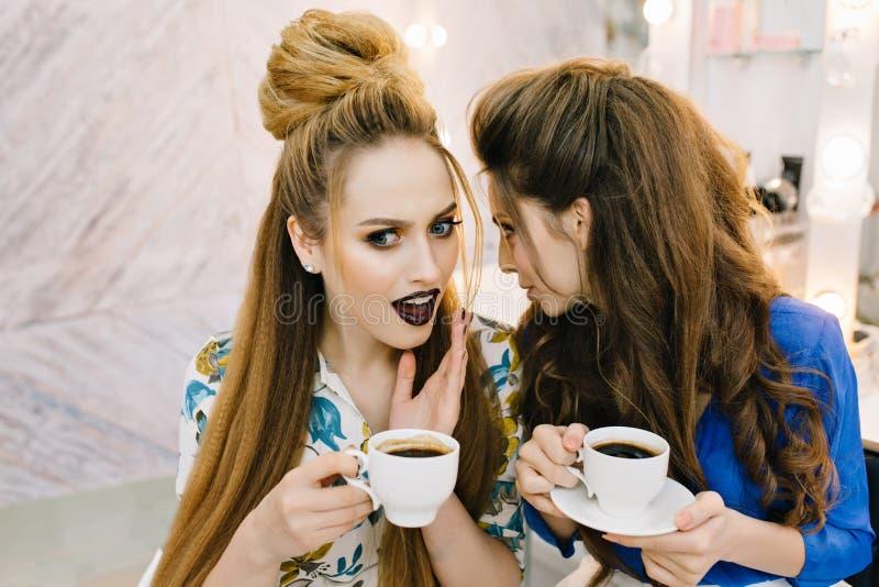Femmes étonnées attirantes de bavardage de portrait avec des tasses de café communiquant dans le salon de haidresser Avoir l'amus photo stock