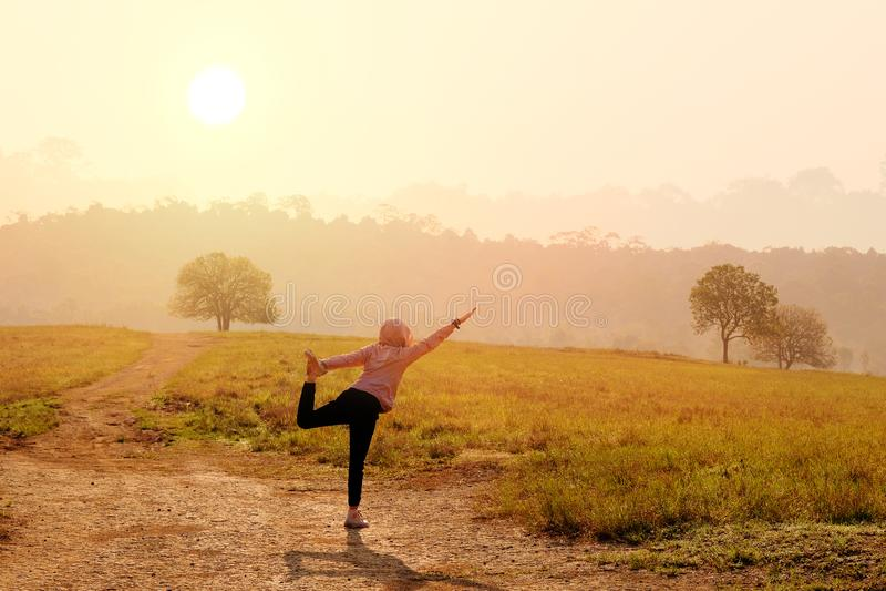 Femmes asiatiques avec des postures de yoga d'exercices de matin photographie stock libre de droits