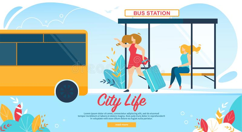 Femmes attendant sur la gare routière, transport en commun illustration stock