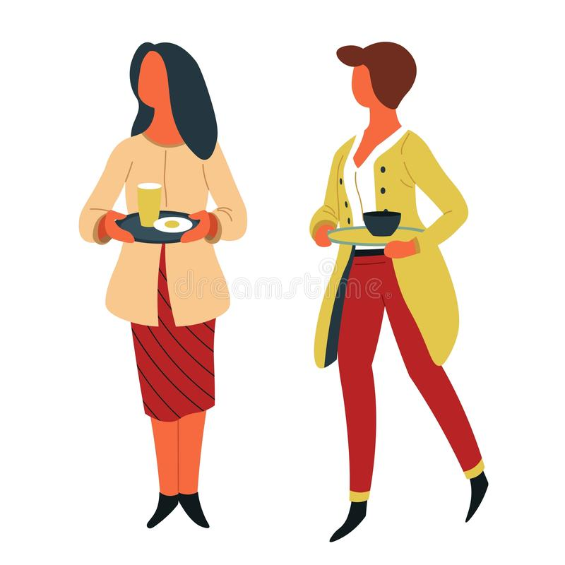 Femmes avec des plats sur le d?jeuner de libre service de cantine de plateaux illustration stock