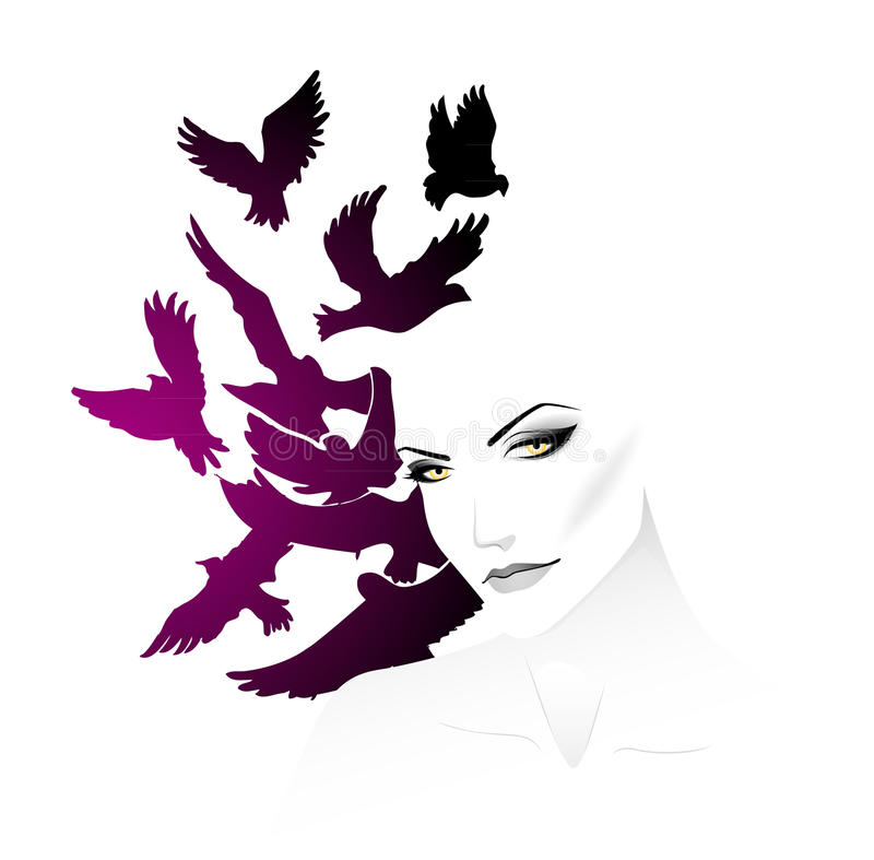 Femmes avec l'oiseau illustration stock