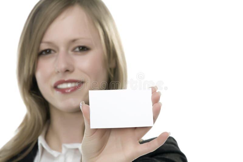 Femmes avec la carte de visite professionnelle de visite à disposition photos libres de droits