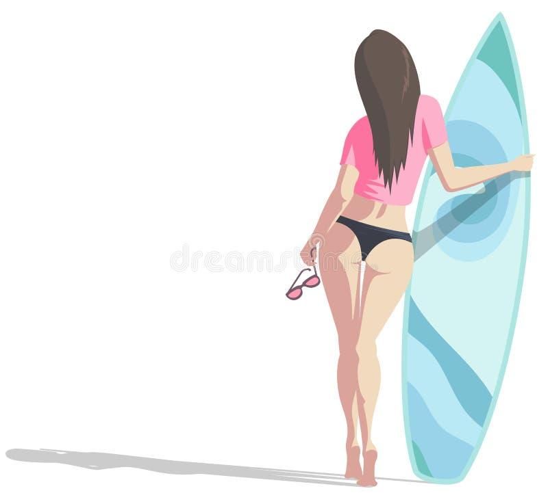 Femmes avec la planche de surf illustration libre de droits