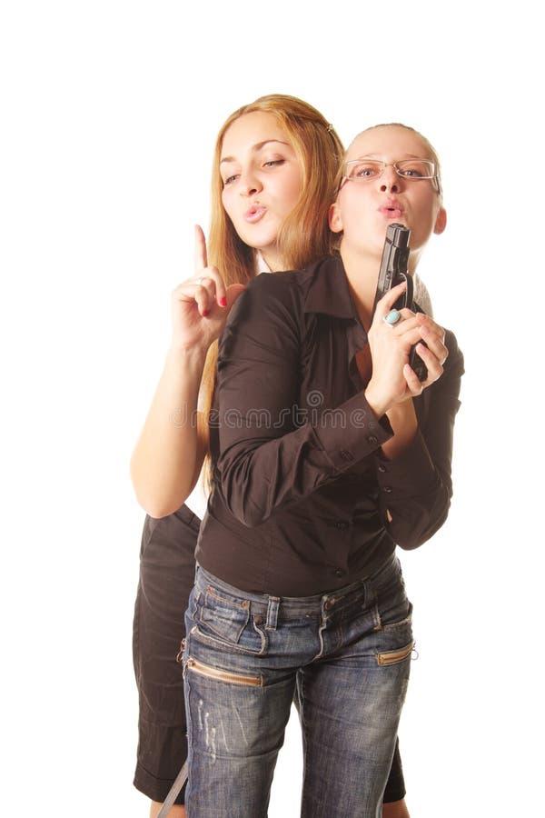 Femmes avec le canon images libres de droits