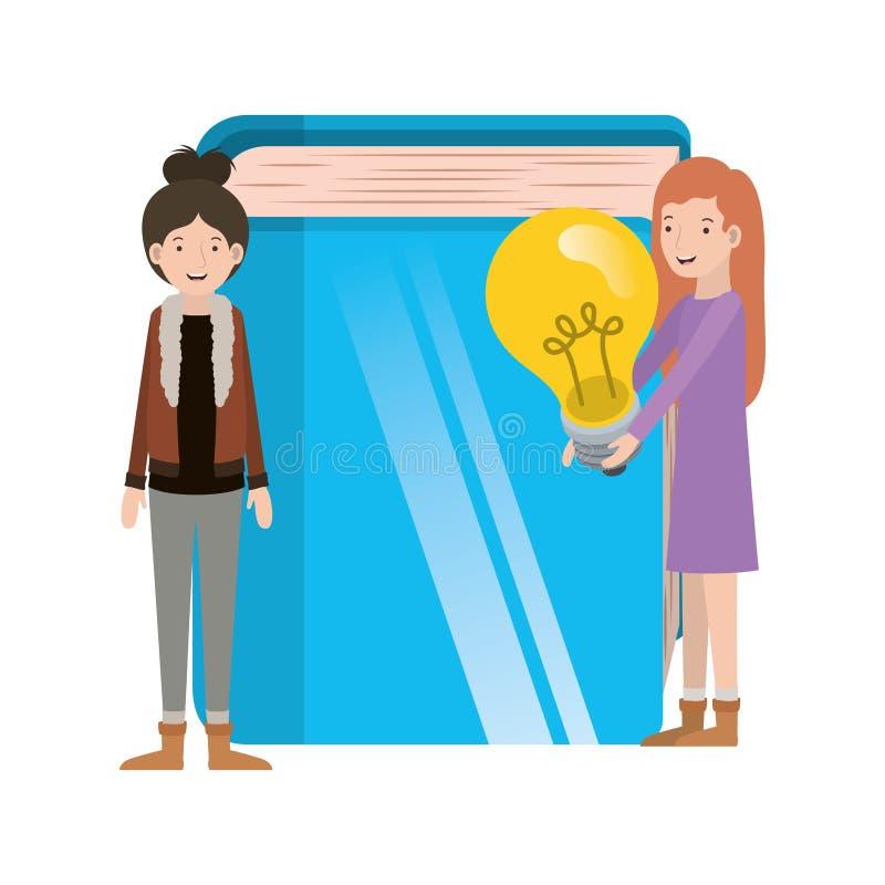 Femmes avec le caractère d'avatar d'ampoule et de livre illustration stock