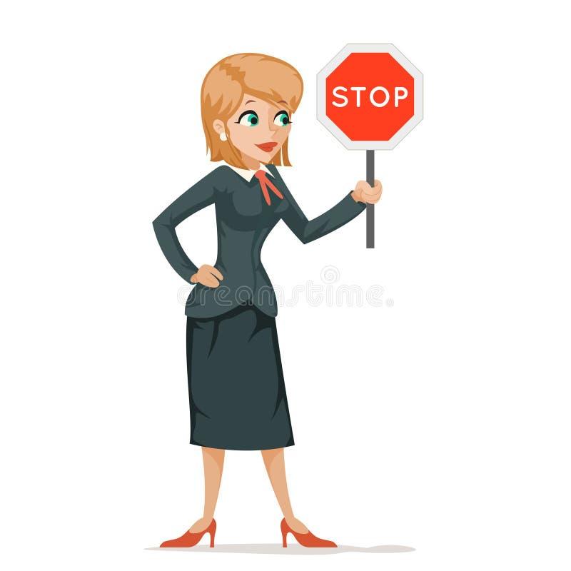 Femmes avec le combat de combat de demande d'inégalité de genre de signe d'arrêt pour le concept hommes-femmes de caractères d'ég illustration stock