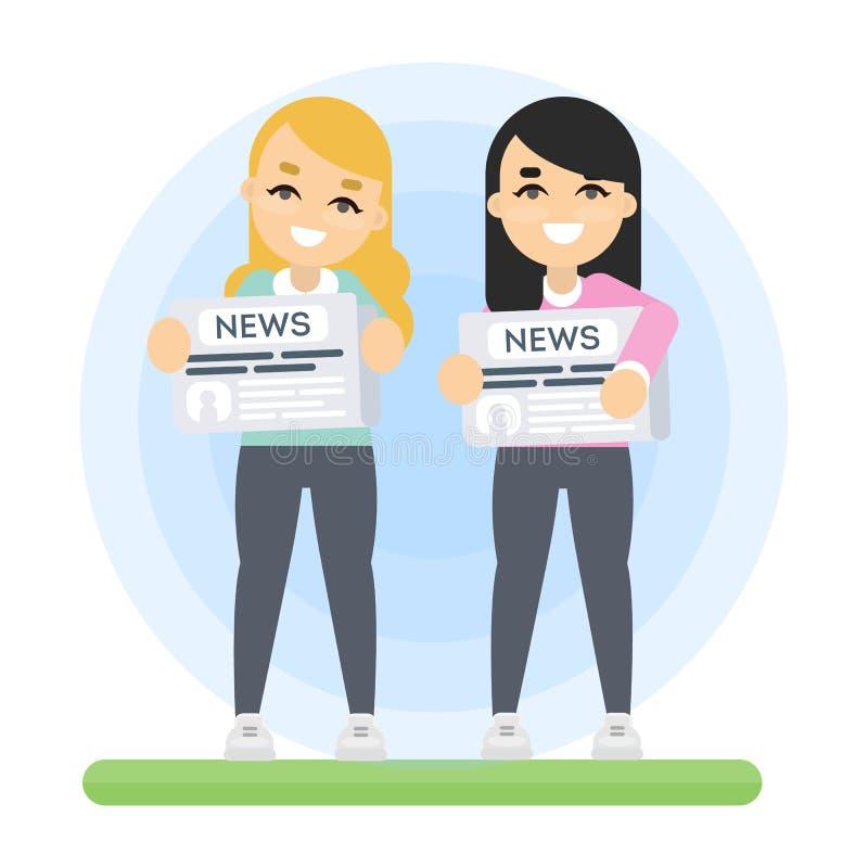 Femmes avec le journal illustration stock