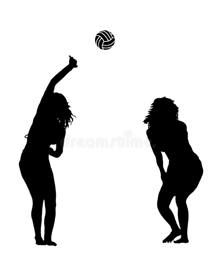 Femmes avec le volleyball images stock