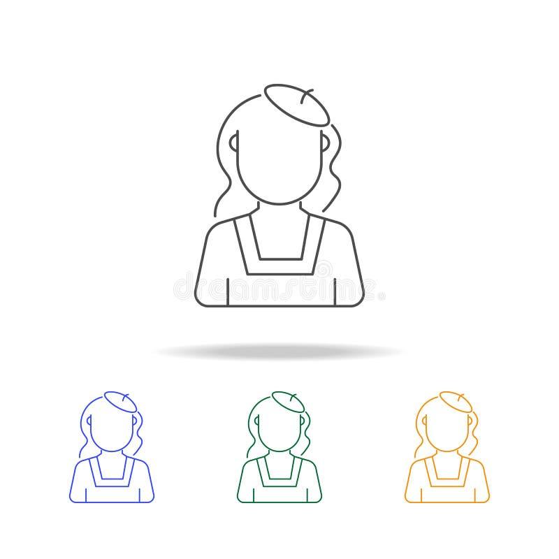 Femmes avec les icônes multicolores d'avatar de peintre de béret Élément d'avatar de profession de pour les apps mobiles de conce illustration de vecteur