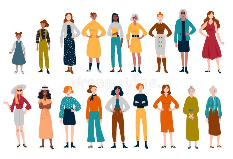 Femmes, beaucoup de personnages féminins de différents âges illustration stock