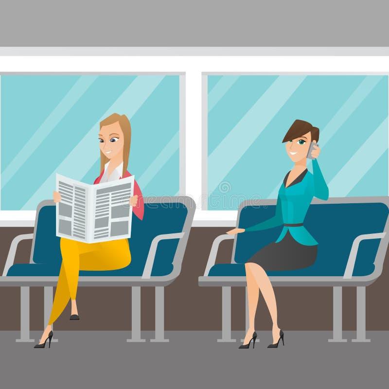 Femmes caucasiennes voyageant par transport en commun illustration libre de droits