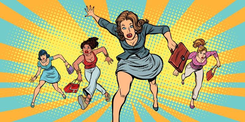 Femmes courant dans la panique à vendre illustration stock