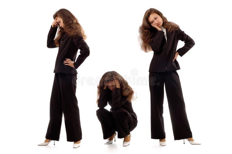 Femmes d'affaires exprimant des émotions négatives photographie stock